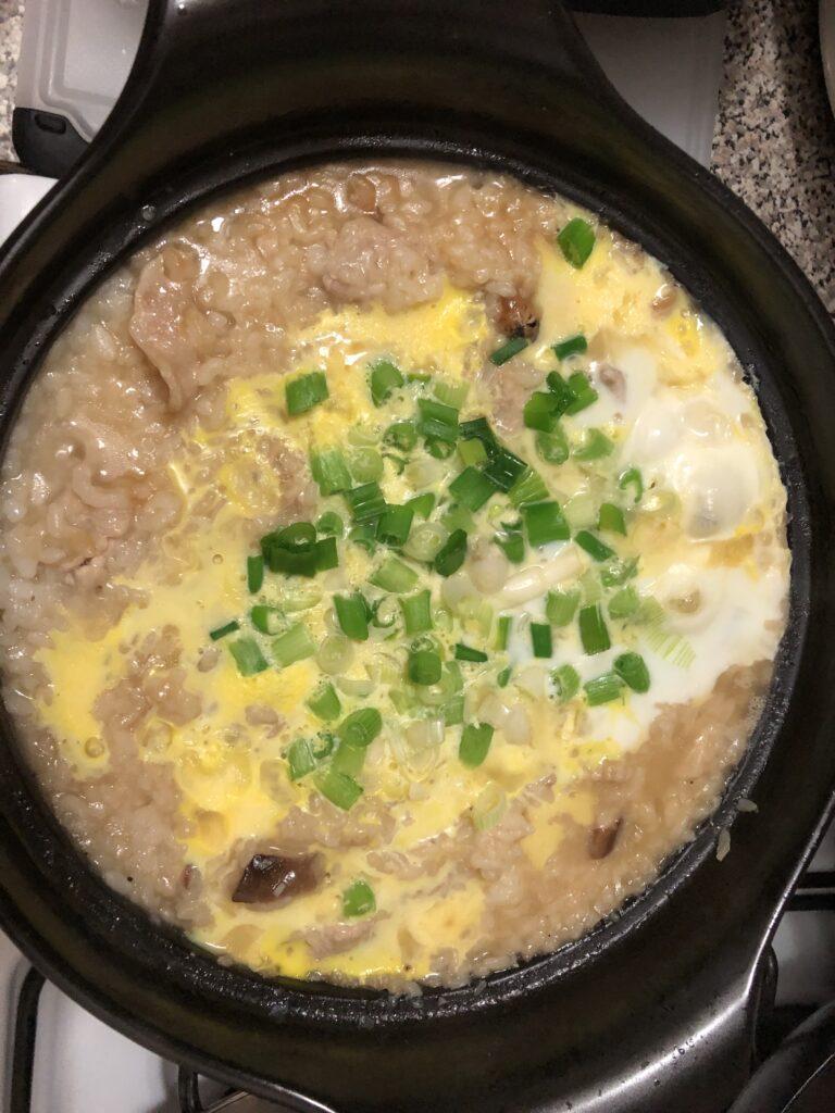 Ojiya (Rice Porridge) with Pork and Shiitake