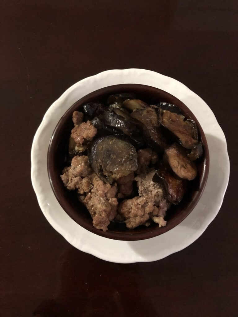Pork and Japanese Eggplant Donburi
