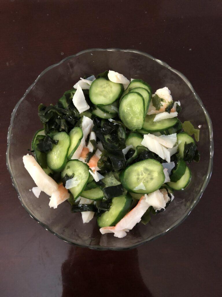 Wakame, Cucumber, and Imitation Crab Meat Salad